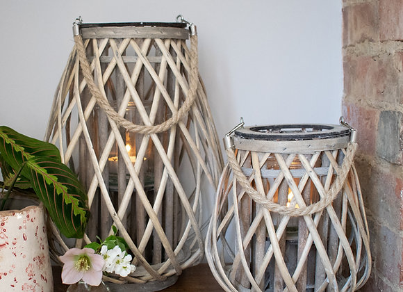Willow Lanterns with Glass Candle Holder