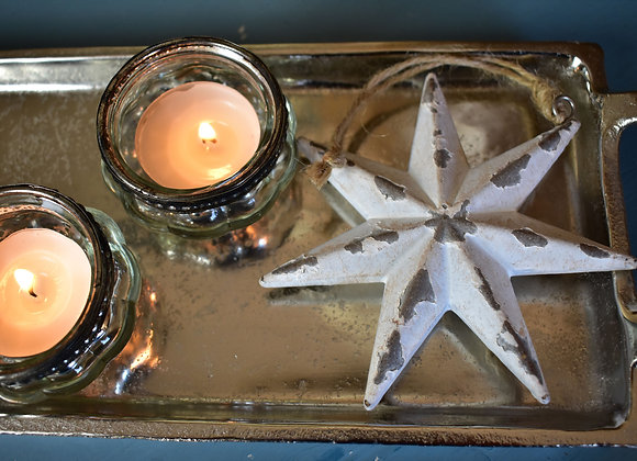 Small Aged Cream Star with Tealight Holders