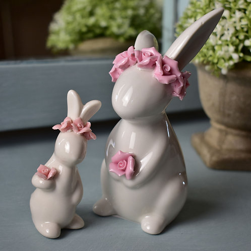 Small Porcelain Rabbits with Pink Rose Decorations