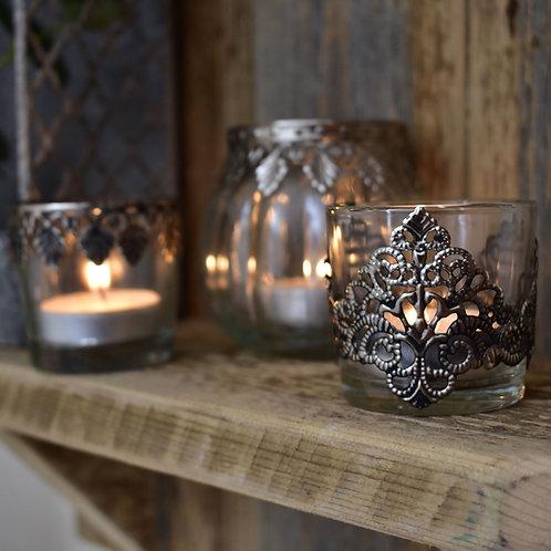 Patterned Glass Tealight Holder