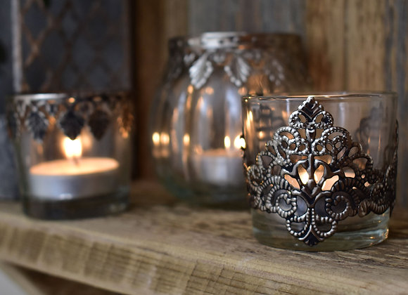 Patterned Glass Tealight Holder