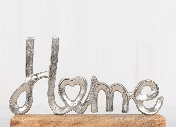Metal Home Word Ornament on Wooden Base