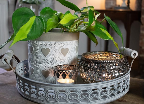 Zinc Round Tray with Plant Pot and Tealights