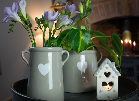 Ceramic Vase in Grey with Small Heart Decoration