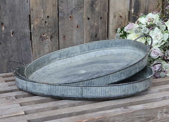 Vintage Style Zinc Handled Oval Tray