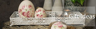 Group of floral ornaments on lace tray