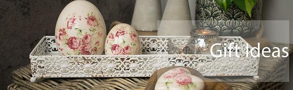 Ceramic Floral Egg on White Tray