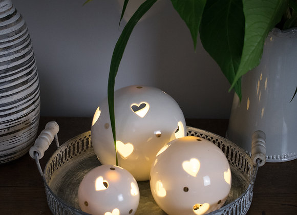 Ceramic LED Globes with Heart Cut Out