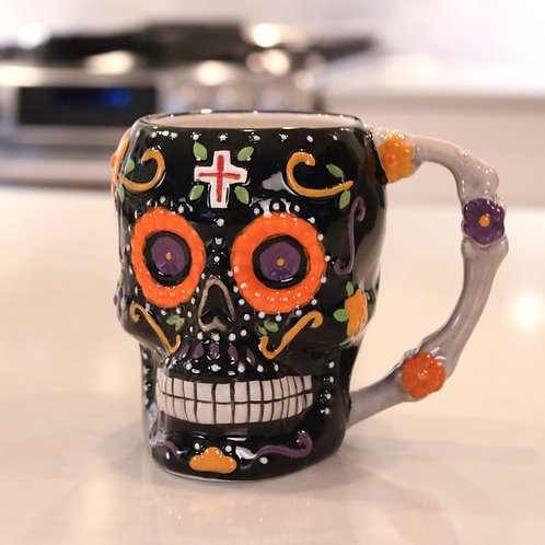 Day of the Dead Flower Skull Mug