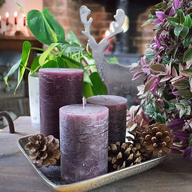 Purple Candles on Nickel Tray