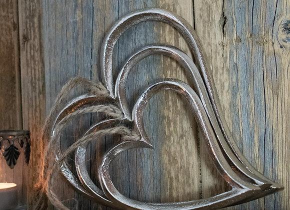 Hanging Metal Hearts