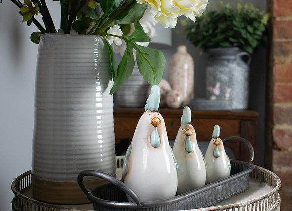 Ceramic Chickens in Three Sizes
