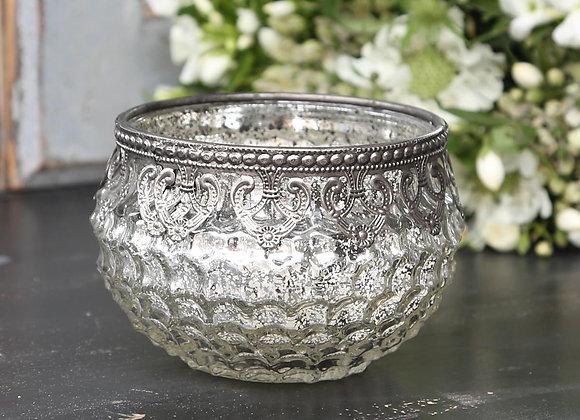 Silver Mercury Tealight with Filigree Edging