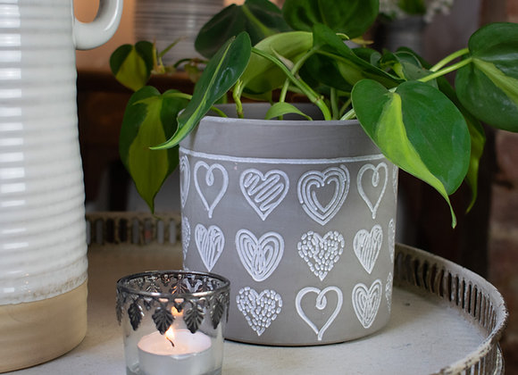 Neutral Colour Planting Pot with Hearts