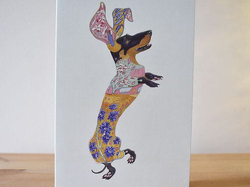 Floral Dachshund Mother's Day Card