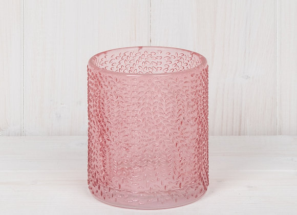 Pink Glass Tealight Holder