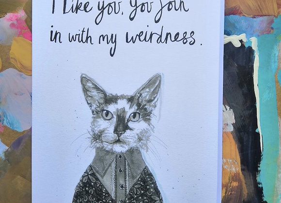 Quirky Cat Greetings Card