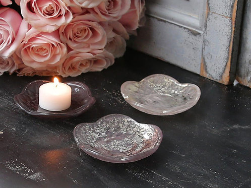 Pink Glass Candle Dish