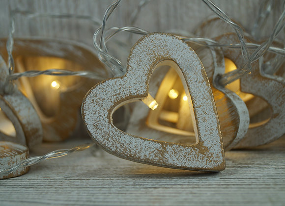 White and Gold Heart LED Lights