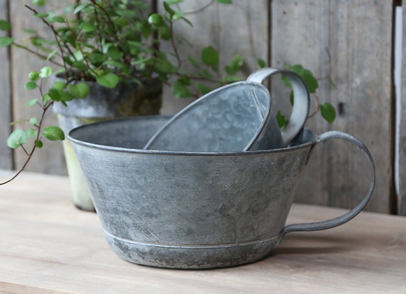 French Style Zinc Handled Container
