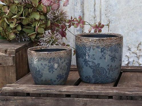 Blue Floral Flowerpot with Bronze Effect Edging