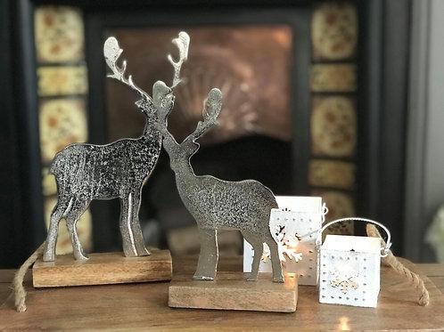 Metal Reindeer on Wooden Base