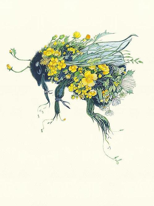 Floral Bumblebee Greetings Card
