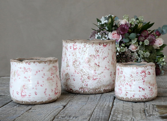 Distressed Flower Pot with Pink Floral Pattern