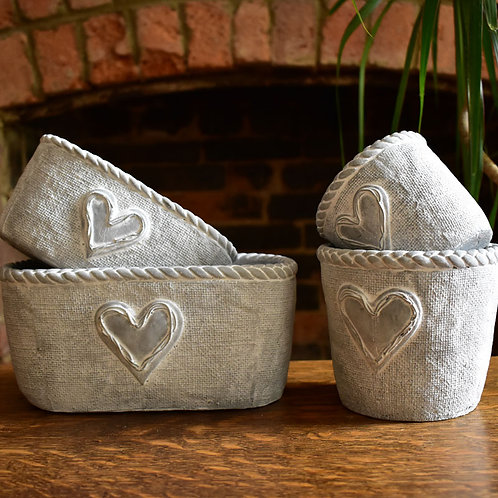 Silver Planting Pots and Troughs with Heart