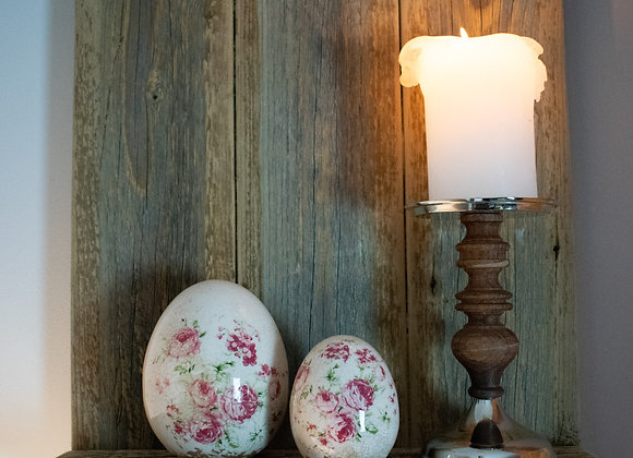 Wood and Nickel Candlestick with Floral Ceramic Eggs