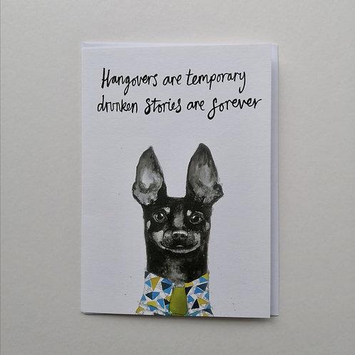 Drunken Dachshund Greetings Card