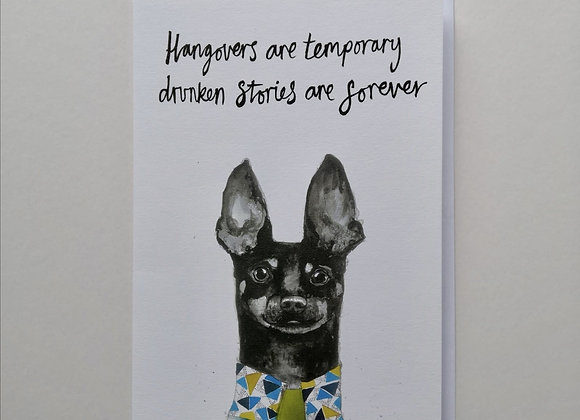 Drunken Dachshund Greetings Card