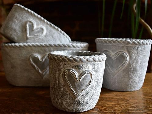 Range of Silver Heart Planting Pots