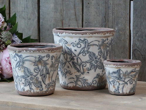 Ceramic Plant Pots with French Floral Design