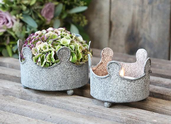 Greywashed Metal Crown Tealight Holders