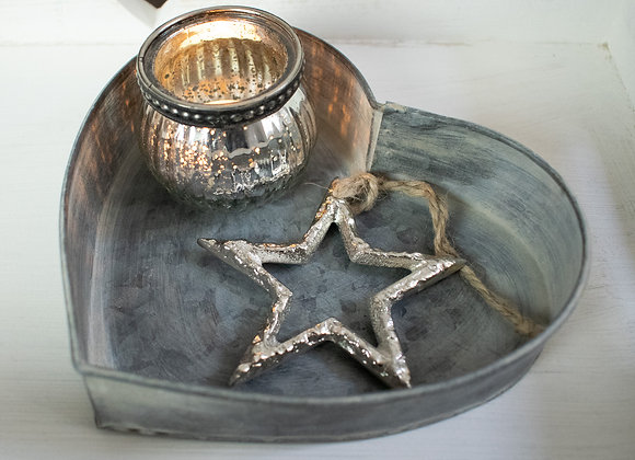 Zinc Heart Shaped Tray with Star Ornament