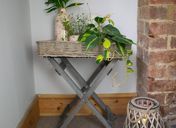 Wicker Tray Table with Homeware Items