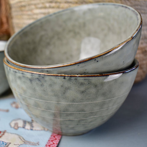 Green Stoneware Bowl Microwave and Dishwasher Safe