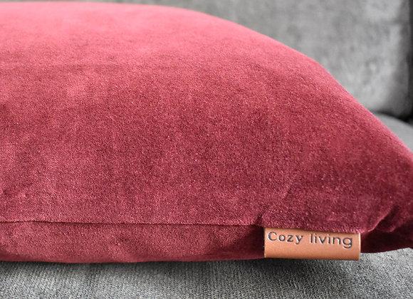 Port Coloured Velvet Cushion