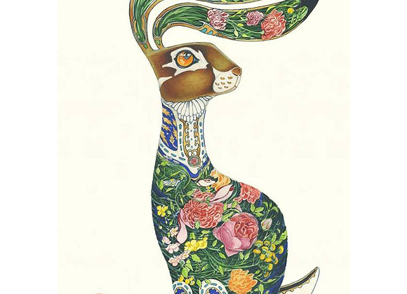 Floral Hare Greetings Card