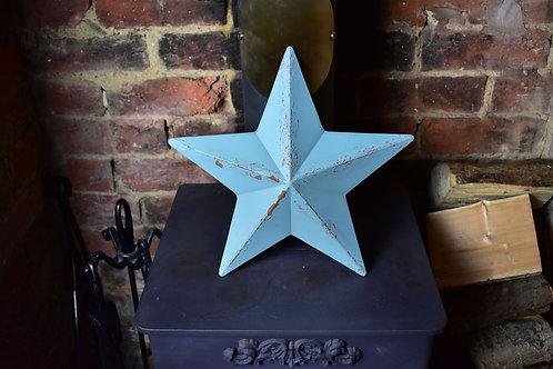 Pale Blue Metal Barn Star