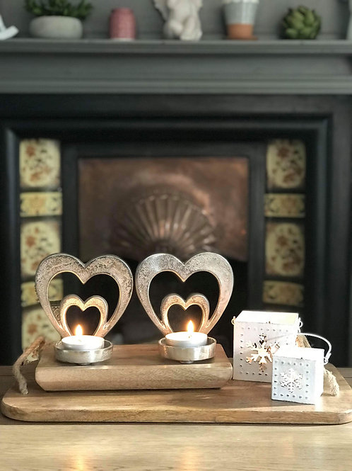 Metal Hearts on Wooden Stand with Tealight Holders