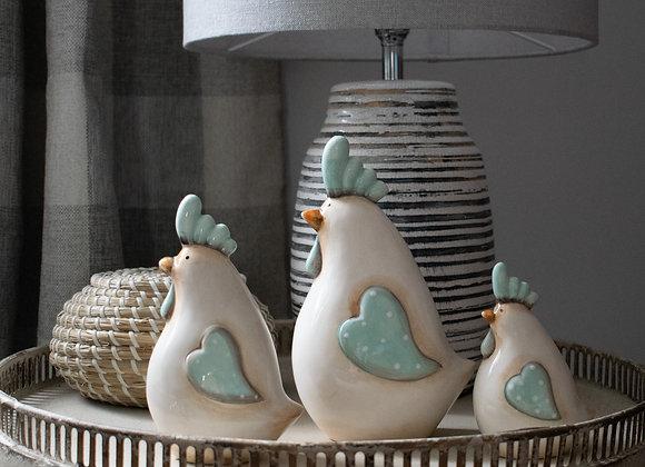 Trio of Chicken Ornaments in Ceramic