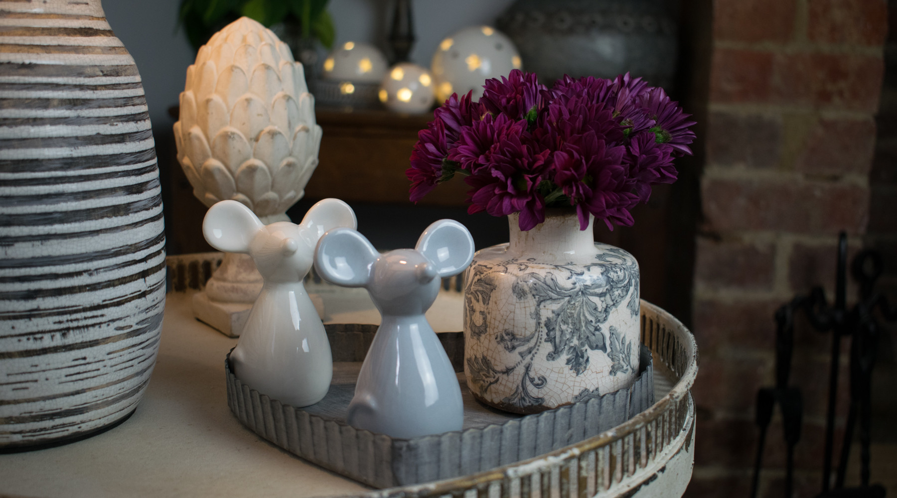 Ceramic Mice, with Artichoke and French-Style Vase