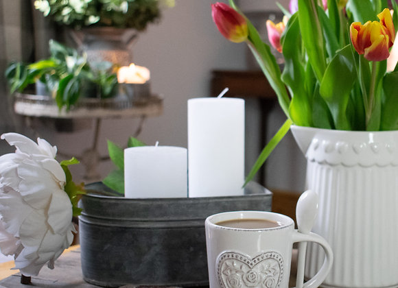 Zinc Heart Container with Tulips