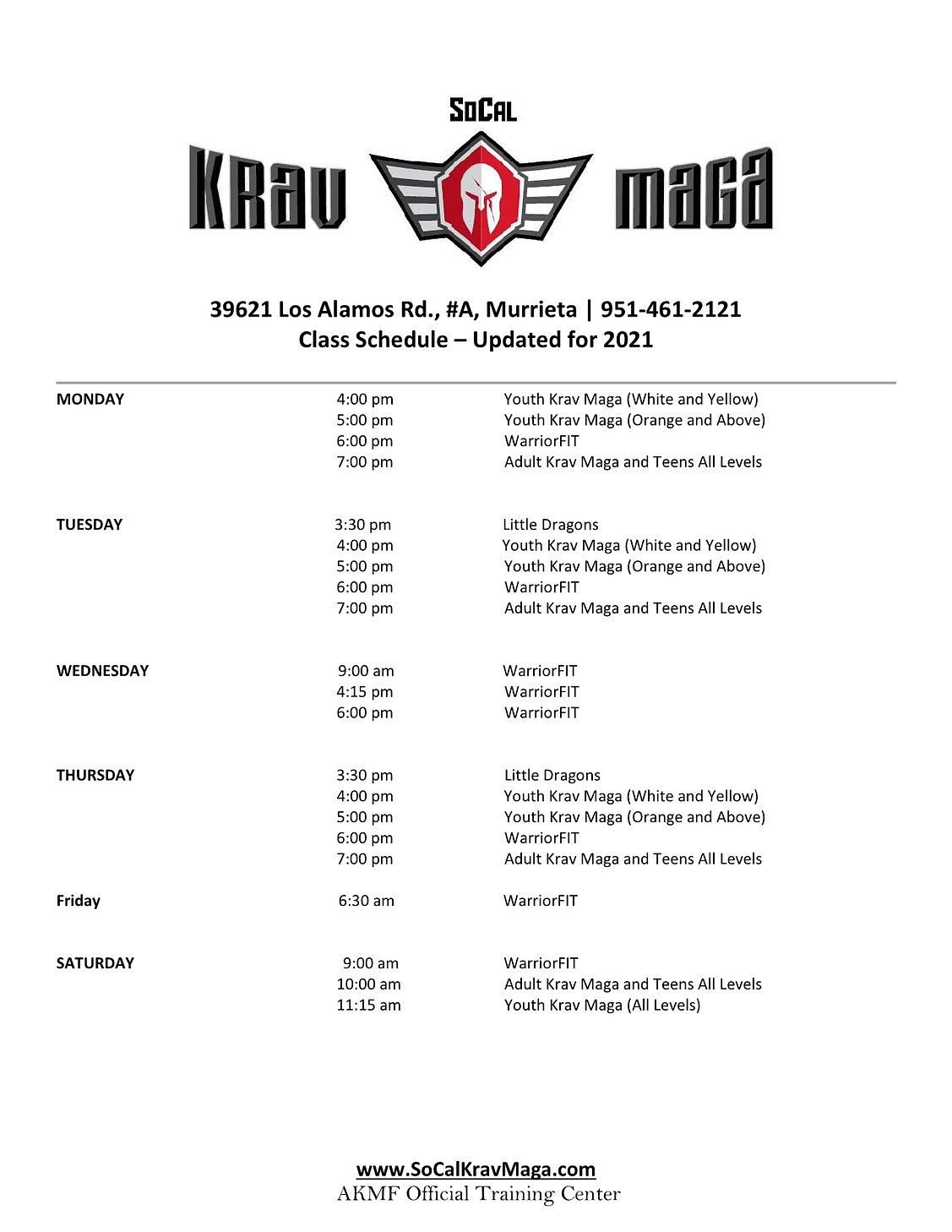 SoCal Krav Maga  Class Schedule  Updated