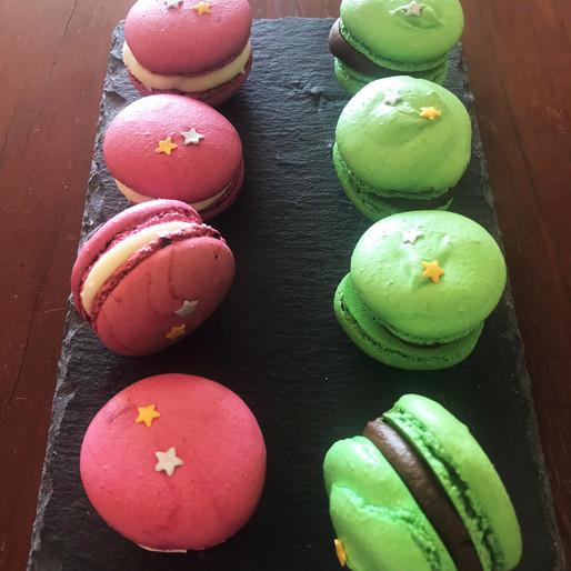 Macarons Verdi e Rosa decorati