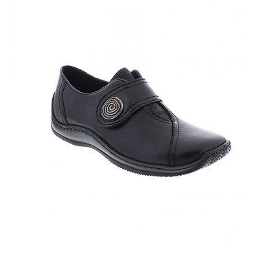 Rieker L1760-00 Ladies Black Hook and Loop Fastening Shoes