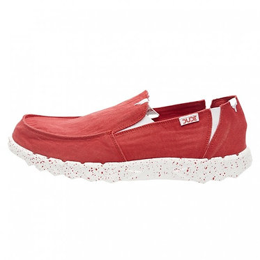 HEY DUDE Farty Washed Canvas Red