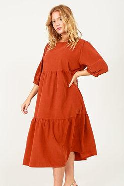 Fine Needlecord Tiered Dress
